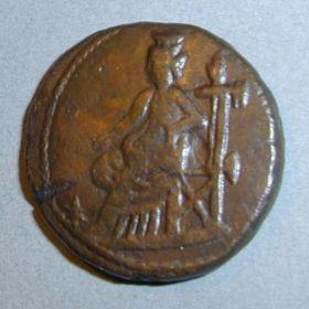 Денарий Рискупорида III с надчеканкой