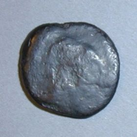 Монета Тиры с надчеканкой