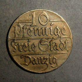 Данциг. 10 пфеннигов 1923